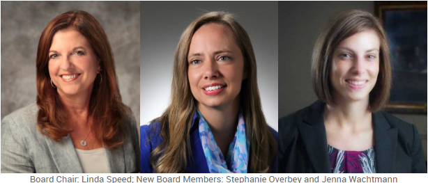 Board Chair: Linda Speed; New Board Members: Stephanie Overbey and Jenna Wachtmann