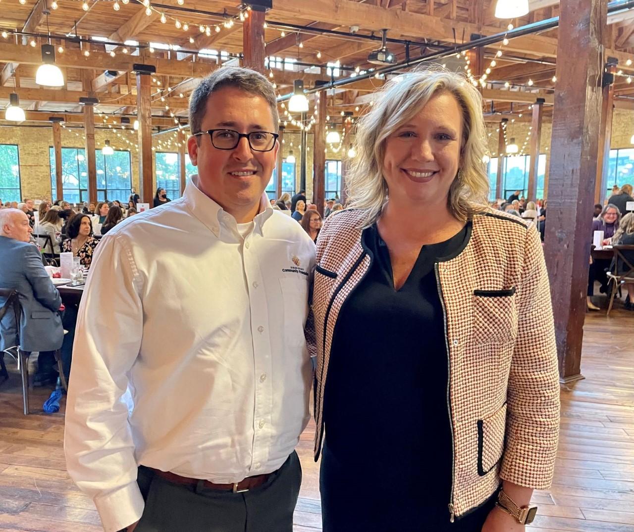 Dubois County CF Executive Director Clayton Boyles and Dove House Executive Director Wendy Noe