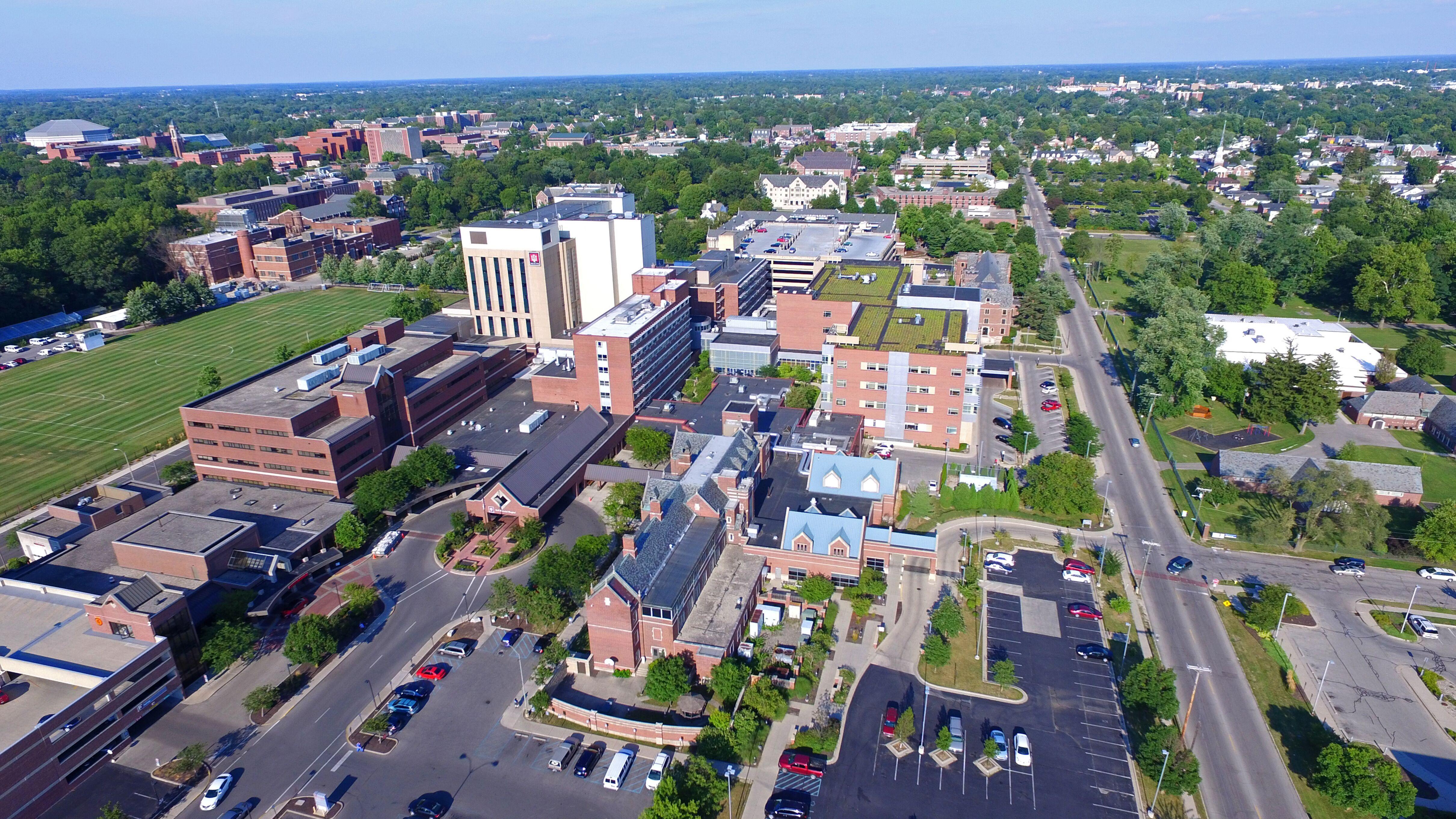 Aerial of IU Health Ball Memorial Hospital